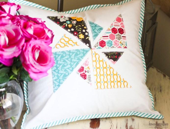 pinwheel applique pillow