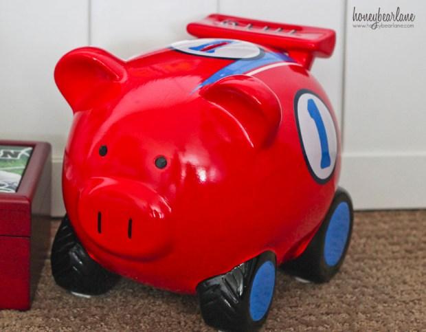 piggy bank racecar