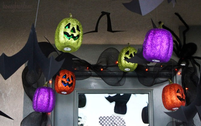 flying pumpkins and bats