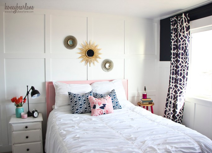 pink and navy blue decor