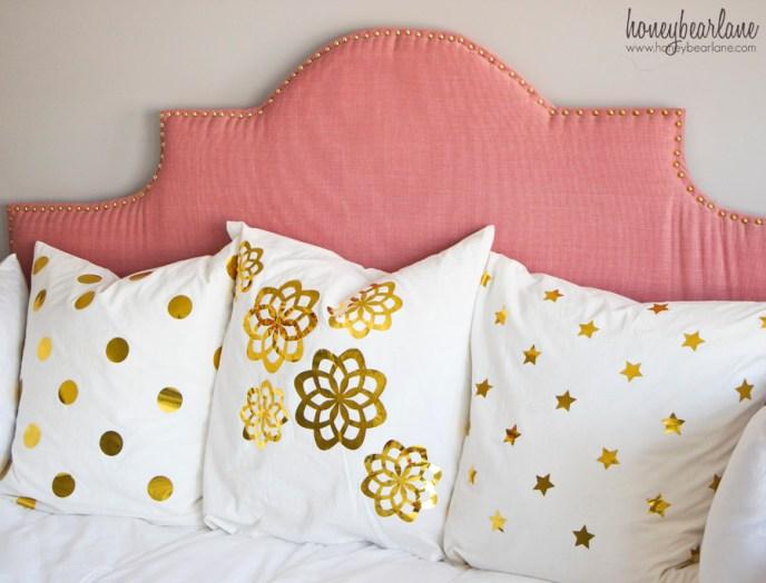 gold vinyl foil pillows