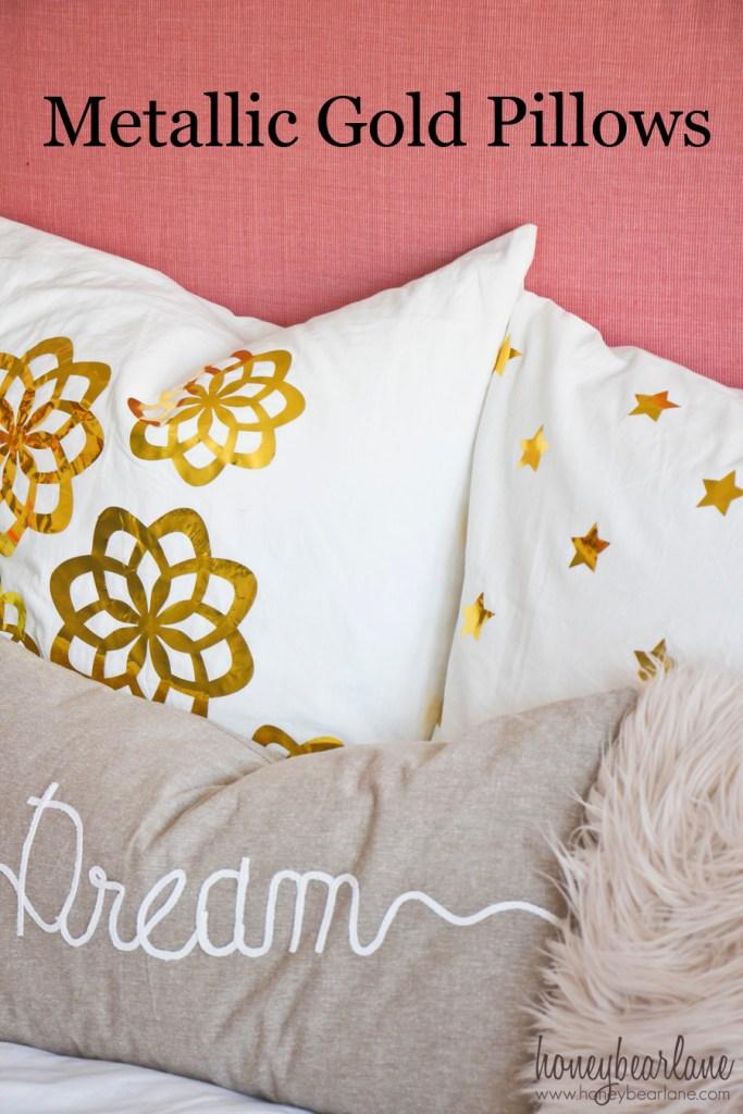 metallic gold pillows