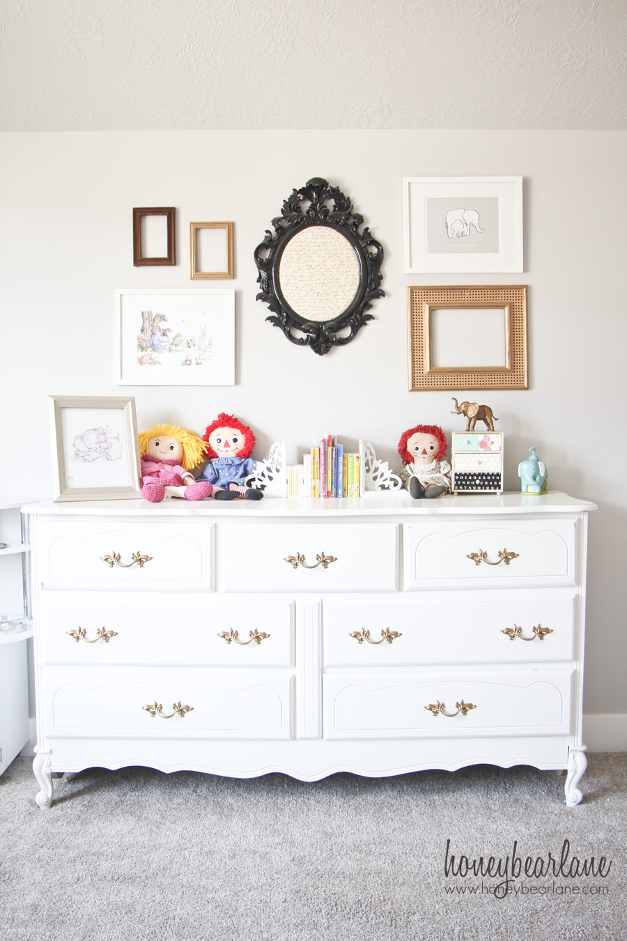 gold and white dresser - Honeybear Lane