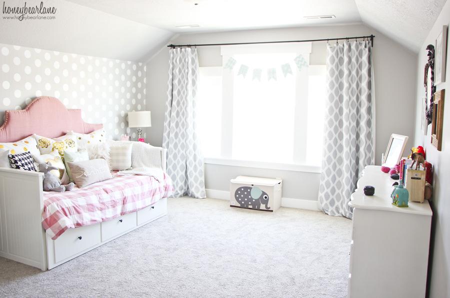 Pink and Gray Girl\'s Bedroom - Honeybear Lane