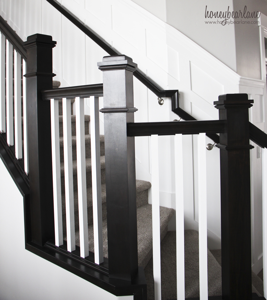 white stair balusters