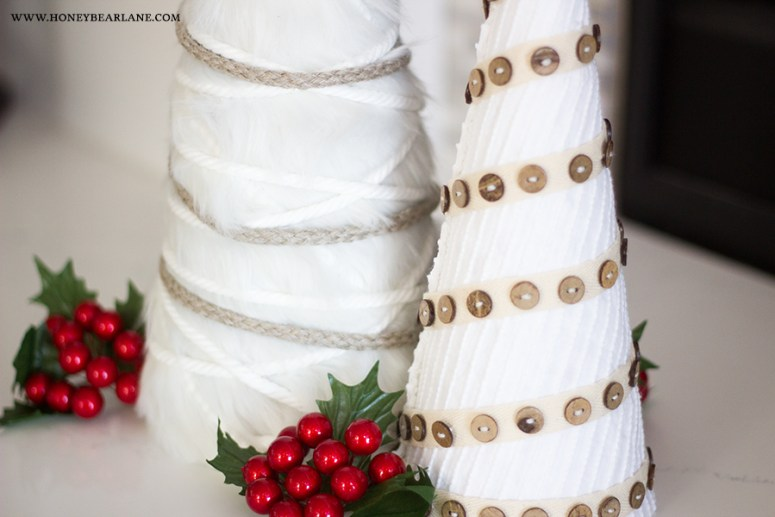 white-christmas-trees-craft. Farmhouse Neutral DIY Trees. Make cone trees to decorate for the holidays. The neutral color and layers of texture will look great with any color scheme.