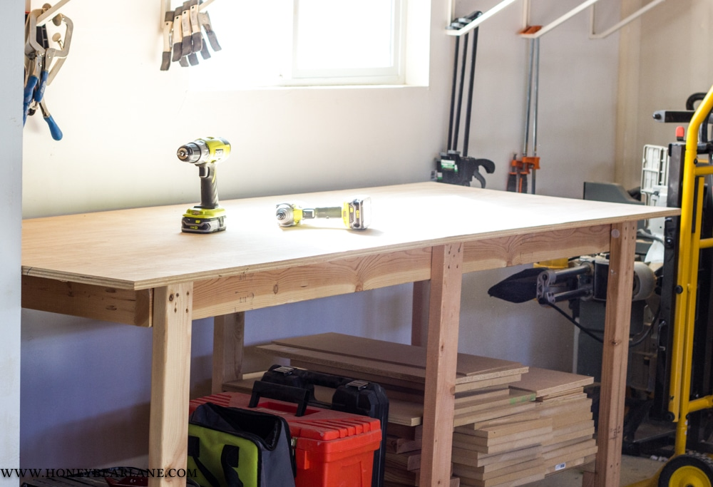 Incredible Two Hour Diy Workbench Free Plans Honeybear Lane Caraccident5 Cool Chair Designs And Ideas Caraccident5Info