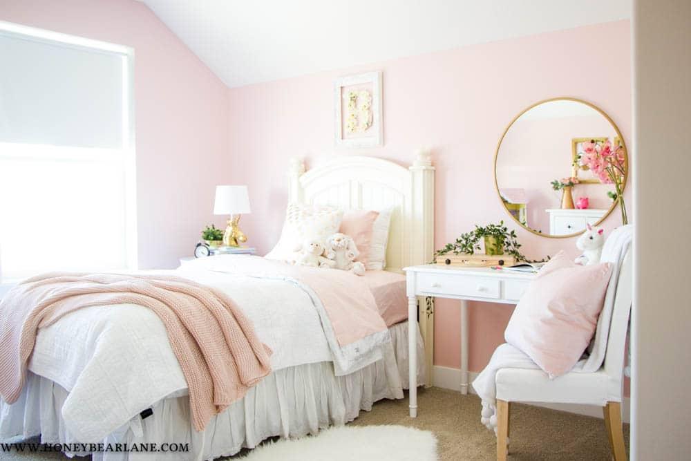 Pink and Gold Girls Bedroom - Honeybear Lane