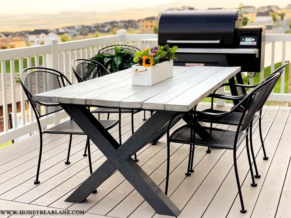 x-leg outdoor table