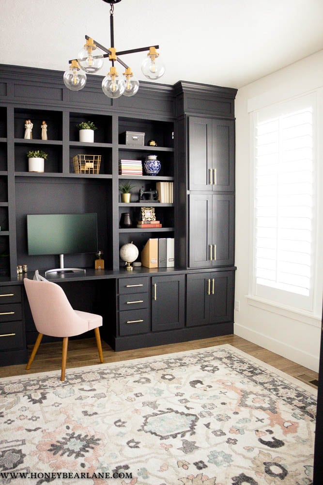 modern black office built ins