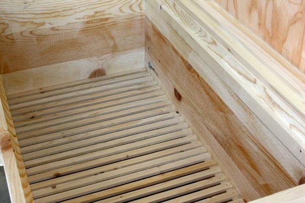 The built-in slatted rack.