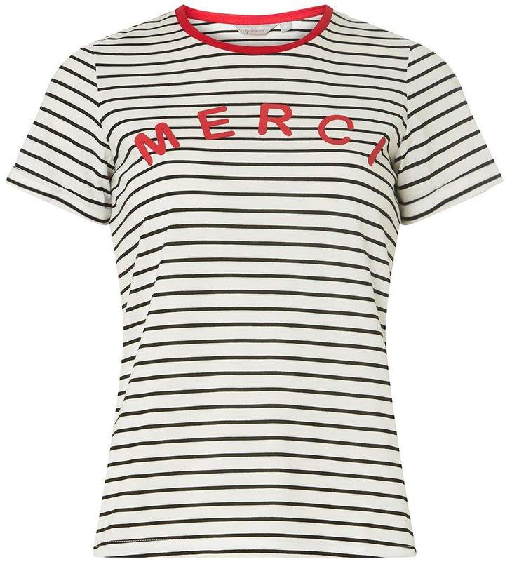 Dorothy Perkins Petite Navy Striped Merci Slogan T-Shirt