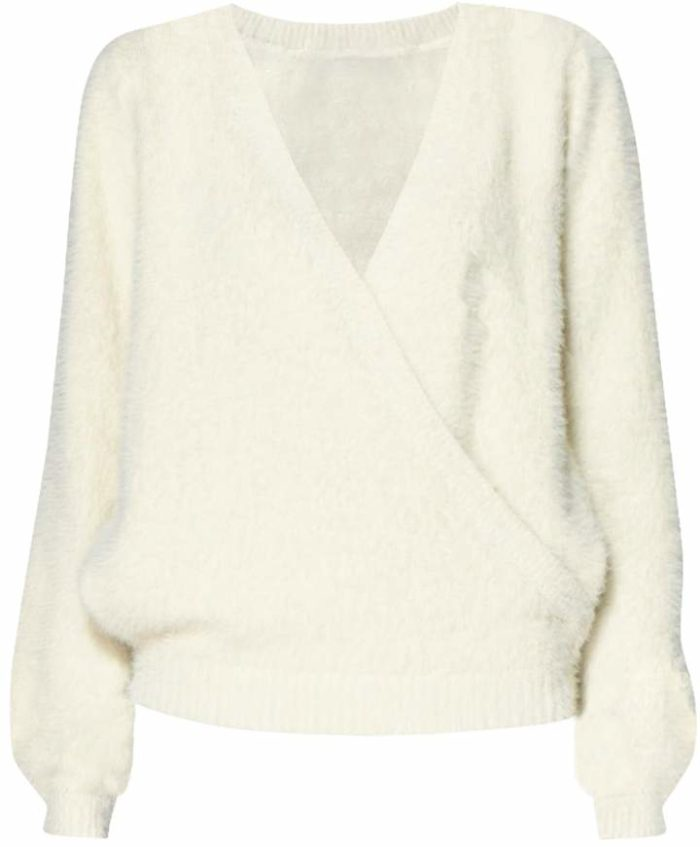 Fluffy Wrap Jumper In Cream