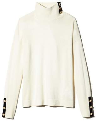 Ralph Lauren Cashmere Button-Trim Turtleneck