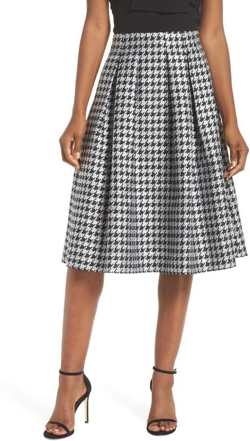 Eliza J Houndstooth Pleated Skirt