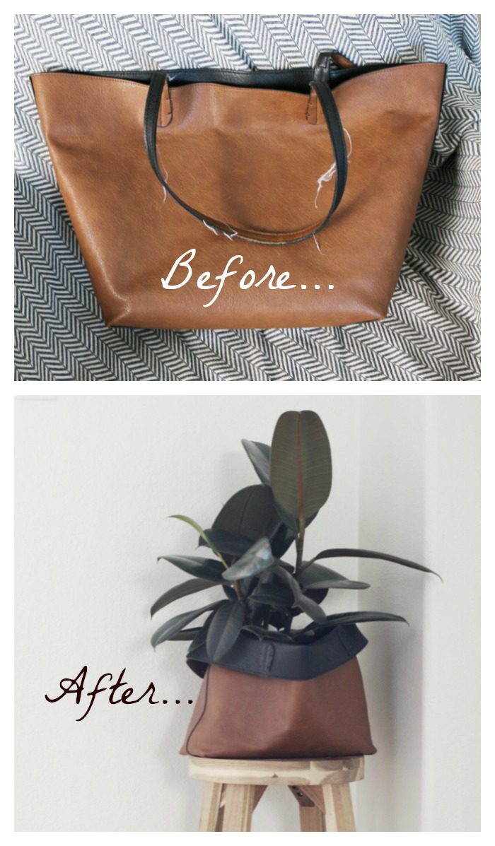 Repurpose a tote into a cachepot