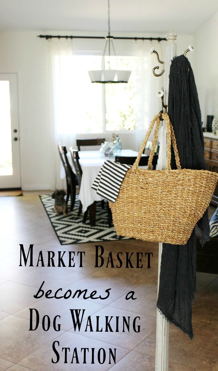 Use a market basket as a dog walking station