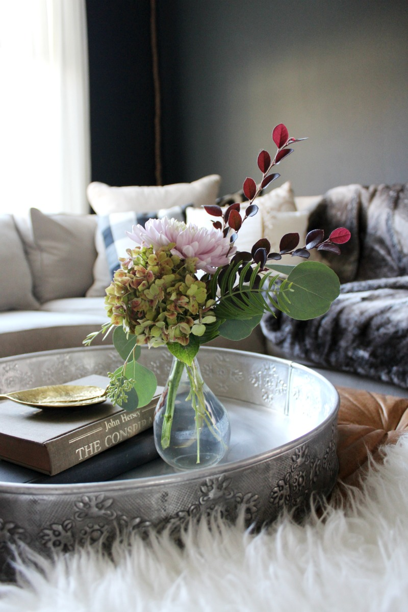 fall floral arrangement with hydrangea