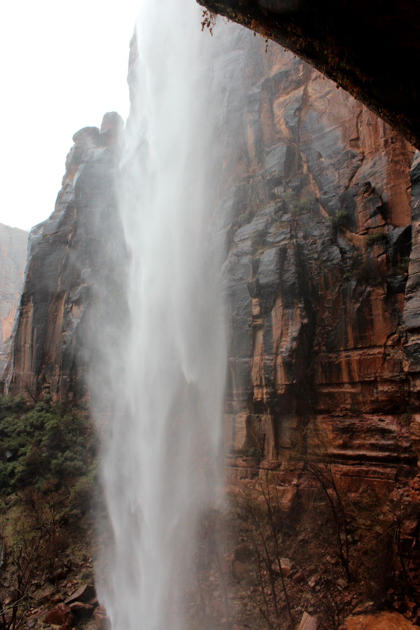 A view of the Weeping Rock waterfall