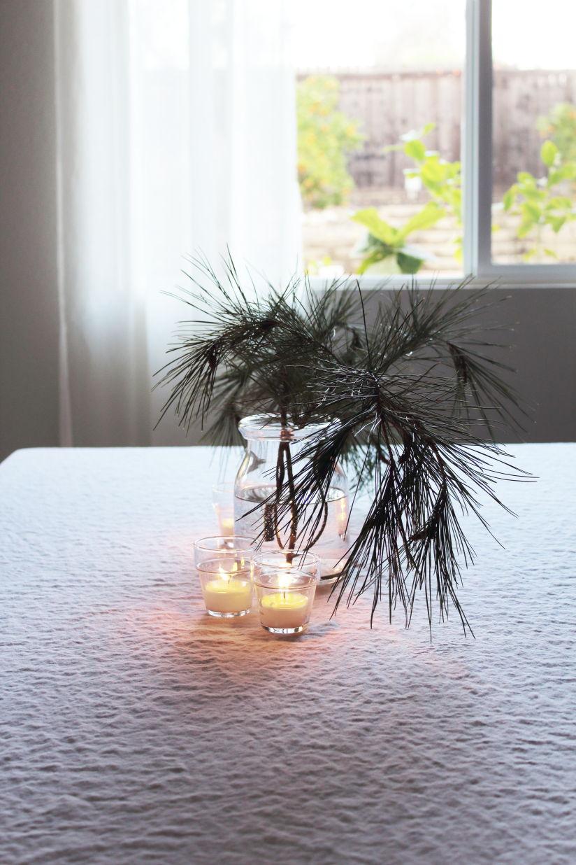 Simple vase of evergreens