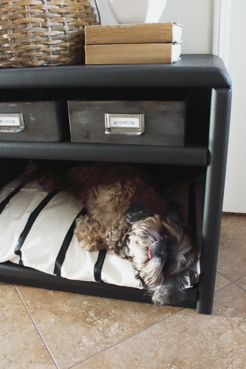 dog bed from an old TV cart