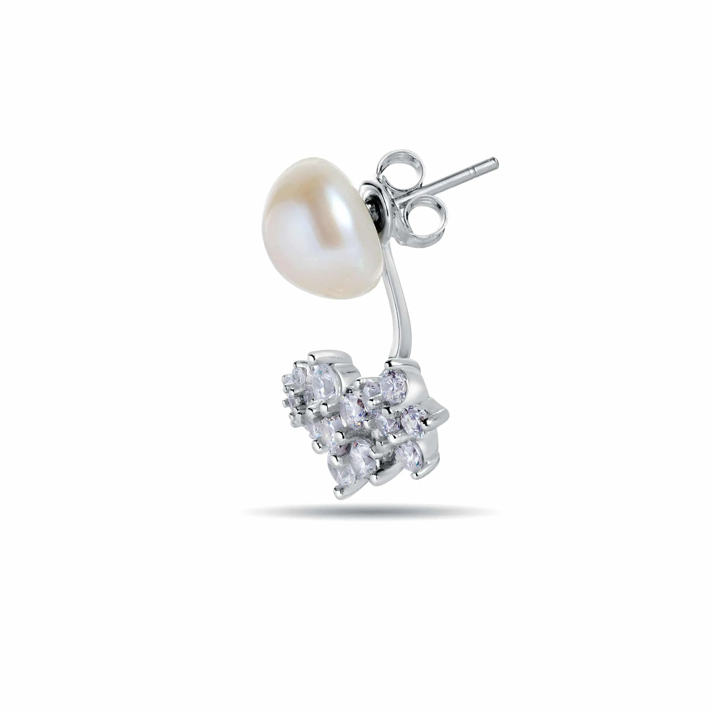 Forgetmenot Sterling Silver Pearl Earrings With Jacket Fitted With  Freshwater Pearls By
