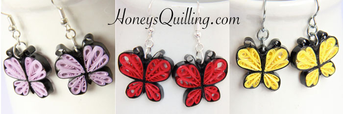 pattern for paper quilling butterfly  jewelry