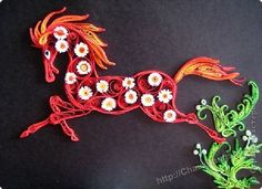 chinese year of the horse 2014 paper quilled horse card