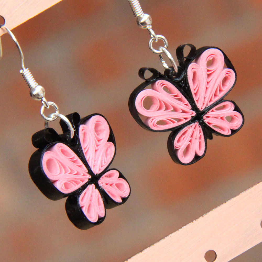 Quilling Earring Designs Butterfly : Make Your Own Paper Quilled Butterfly Earrings - Honey s Quilling