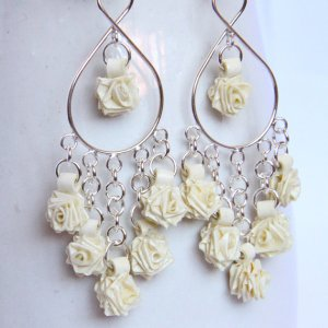 ivory cream rose chandelier earrings in sterling silver