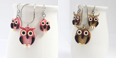 paper quilled owl earring and necklace set