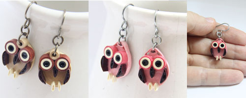 paper quilled small oval owl earrings