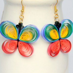 paper quilled butterfly earrings