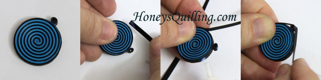 How to make spiral earrings and pendant.  Free paper quilling tutorial from Honey's Quilling