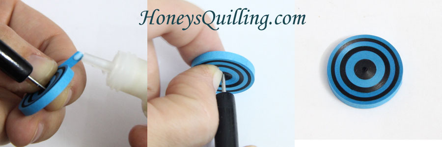 How to make a bullseye circle with paper strips.  A free paper quilling tutorial from Honey's Quilling