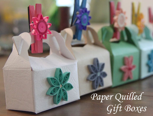 Party Gift Boxes Decorated with Paper Quilling