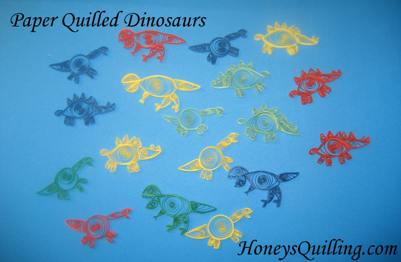 Paper Quilled Dinosaur Patterns - T Rex, Triceratops, Stegasaurus, brontosaurus, apatosaurus, Pteranodon - Honey's Quilling