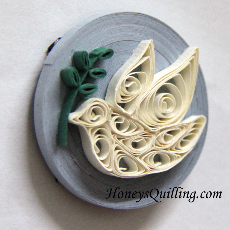Paper quilled dove magnet
