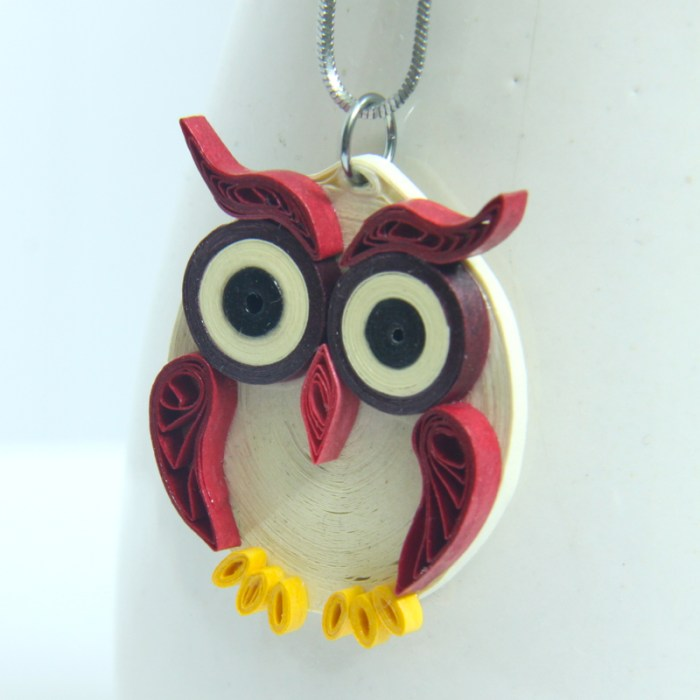 large maroon owl pendant made by paper quilling - Honey's Quilling
