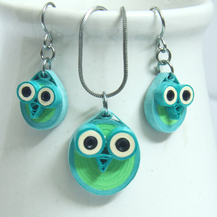neon owl earring and pendant set - Honey's Quilling