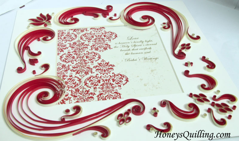 Red Lotus Wedding Frame Design - Honey's Quilling