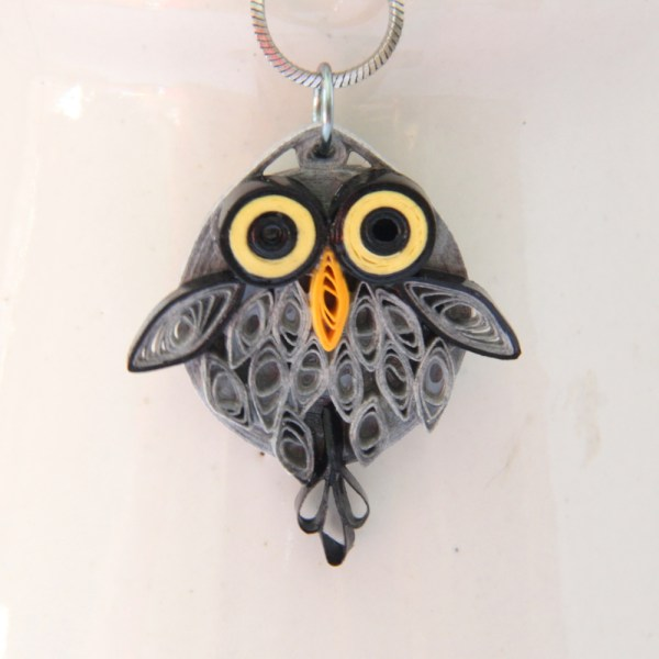 small grey barn owl pendant in paper quilling by Honey's Quilling