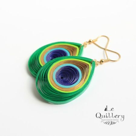 peacock paper quilled earrings by Le Quillery