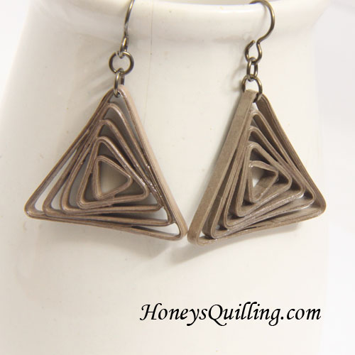 Modern Paper Jewelry - Triangle Spiral Earrings - Honey's Quilling