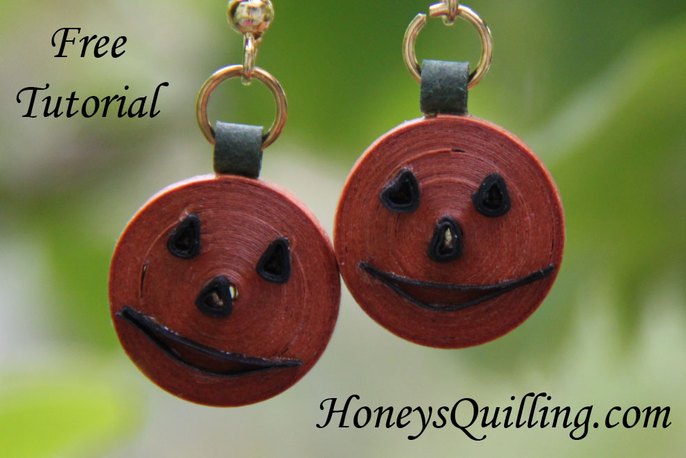 How to Make Paper Quilled Jack O' Lantern Halloween Earring - Free Tutorial - Honey's Quilling