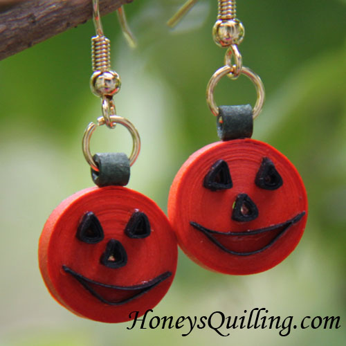 Make Your Own Paper Quilled Jack O' Lantern Earrings - Free Tutorial - Honey's Quilling