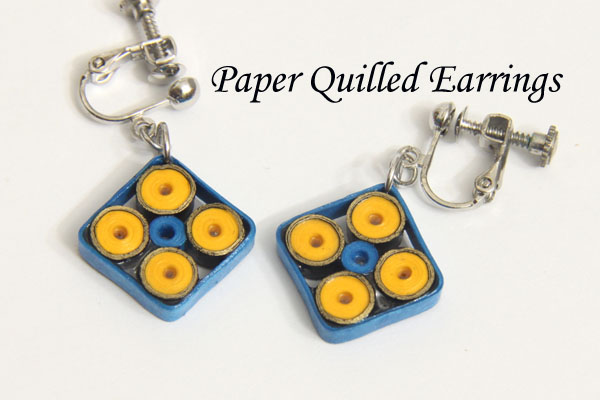 Indian Design Paper Quilled Square Earrings and Pendant