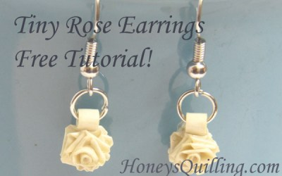Tiny Paper Rose Earrings – Free Paper Quilling Tutorial