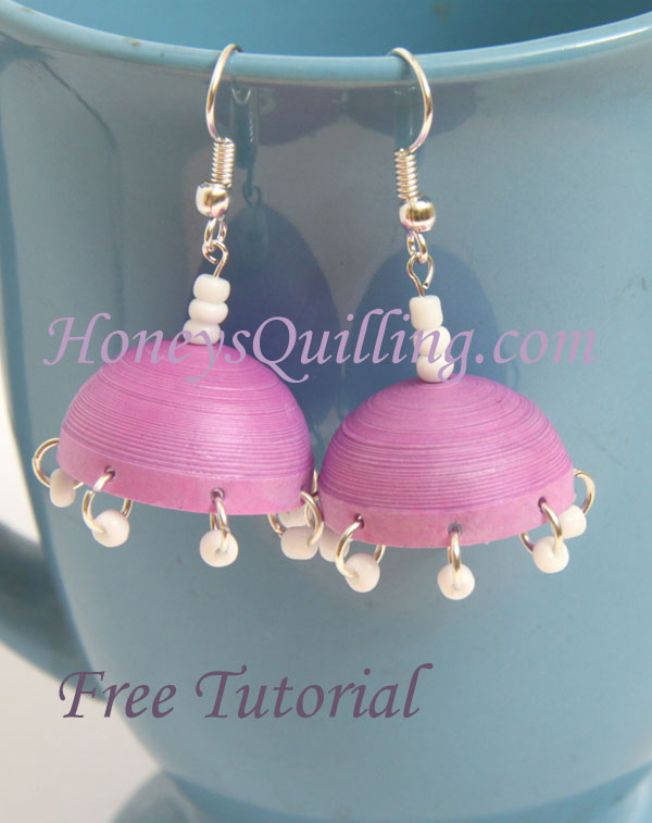 How to make paper quilled jhumka earrings with dangles - free tutorial from Honey's Quilling