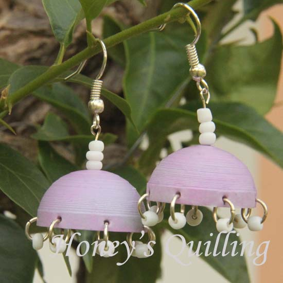 Learn how to make paper quilled jhumka earrings with bead dangles - Honey's Quilling
